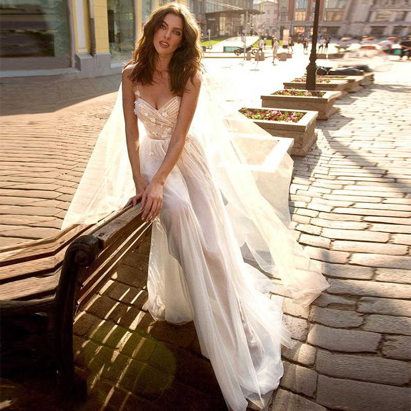 [해외]Verngo 비치 웨딩 드레스 섹시한 여름 웨딩 드레스 꽃 tulle 간단한 신부 드레스 boho 웨딩 드레스 vestidos de novia