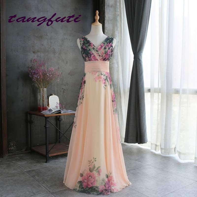 [해외]저렴한 이브닝 드레스 꽃 프린트 이브닝 파티 드레스 긴 쉬폰 정식 이브닝 드레스 가운 파티 댄스 파티 드레스 2018/Cheap Evening Dresses Floral Print Evening Party Dress Long Chiffon Formal Eveni