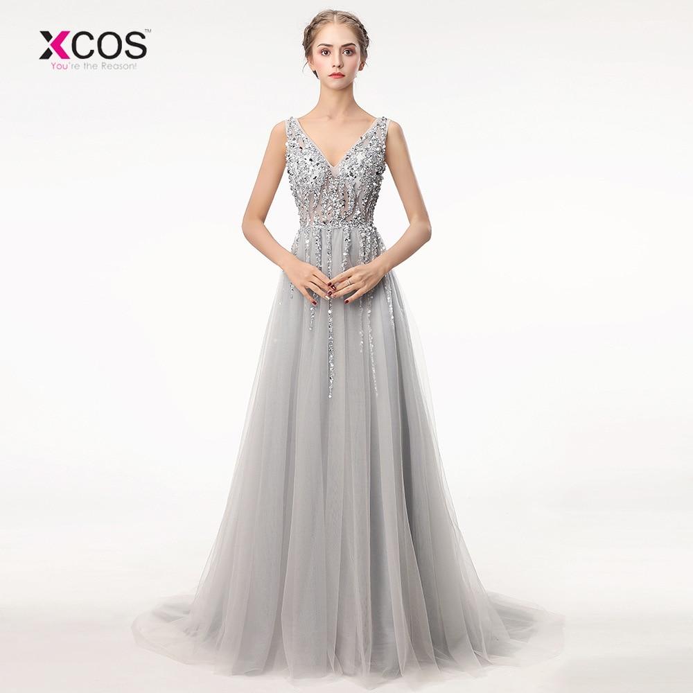 [해외]섹시한 이브닝 드레스 2018 브이 목 비즈 다시 본 라인 이브닝 드레스 파티 Vestido 드 페스타 높은 분할 Tulle 댄스 파티 드레스/Sexy Evening Dress 2018 V Neck Beads Backless A Line Long Evening