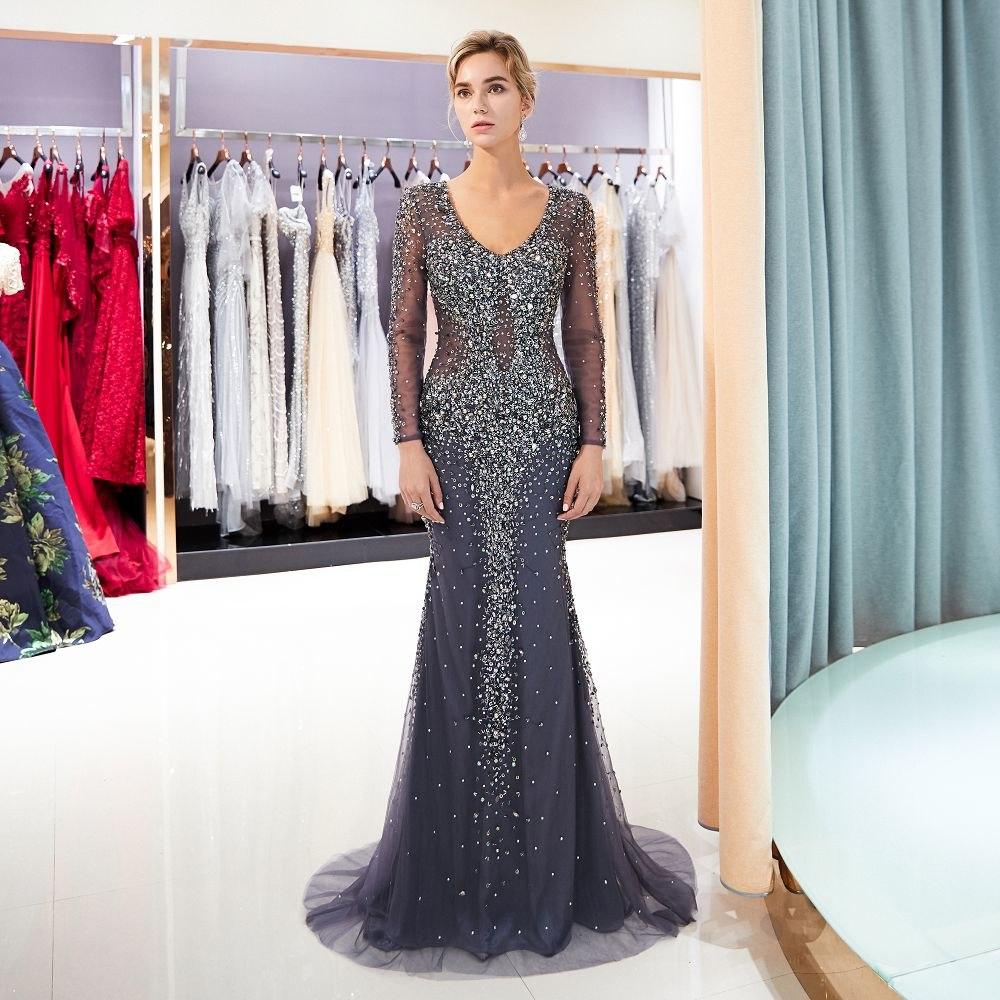[해외]섹시 한 환상 머메이드 저녁 파티 드레스 긴 2018 긴 Retail 구슬 이브닝 드레스 hijab 파티 드레스 정장 가운 Vestido/Sexy Illusion mermaid evening party Dress long 2018 long sleeves bead