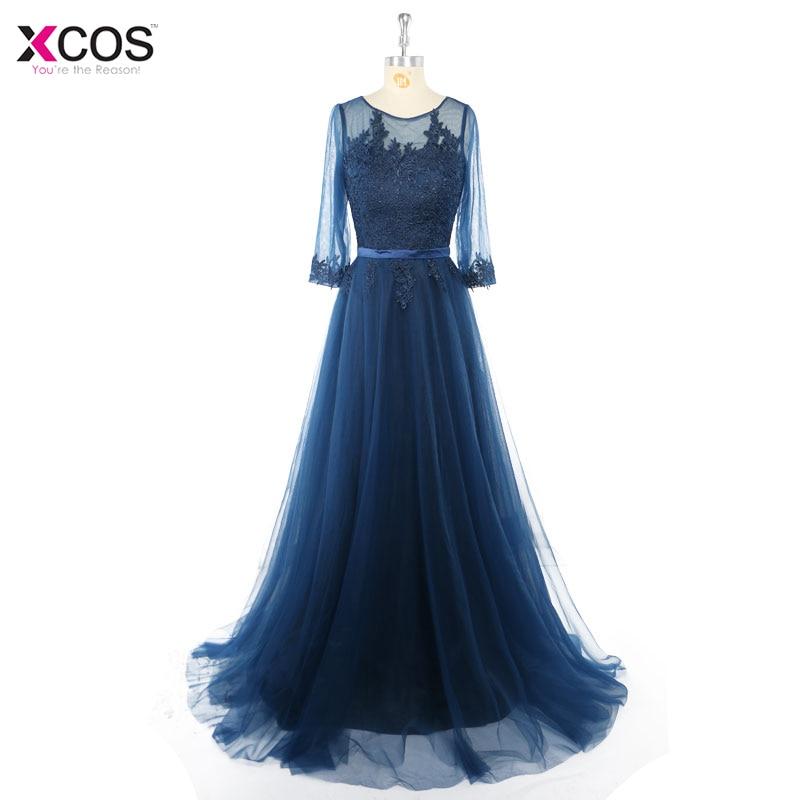 [해외]파티를우아한 레이스 긴 댄스 파티 드레스 여름 특별 행사 가운 반 슬리브 해군 파란색 긴 저녁 드레스 2017/Elegant Lace Long Prom Dresses For Party  A Line Summer Special Occasion Gowns Half