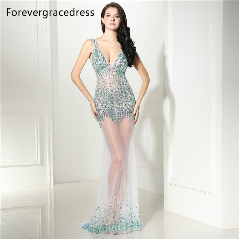 [해외]Forevergracedress 유혹 댄스 파티 복장 2017 섹시한 V 넥 페르시 크리스탈 Backless 긴 공식 파티 가운 플러스 크기 맞춤 제작/Forevergracedress Illusion Prom Dress 2017 Sexy V Neck Beaded