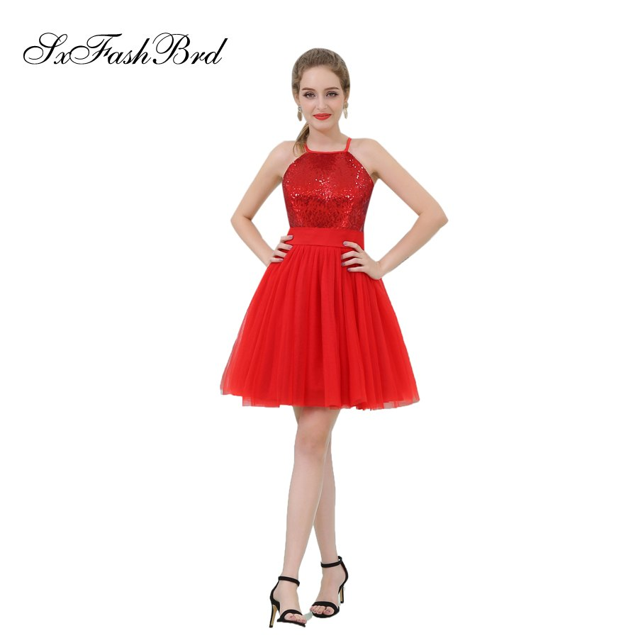 [해외]로브 Longue 홀터넥 넥 라인 얇은 명주 여성을짧은 짧은 정식 우아한 드레스 이브닝 파티 파티 드레스 Vestido De Festa/Robe Longue Halter Neck A Line Tulle Mini Short Formal Elegant Dresses