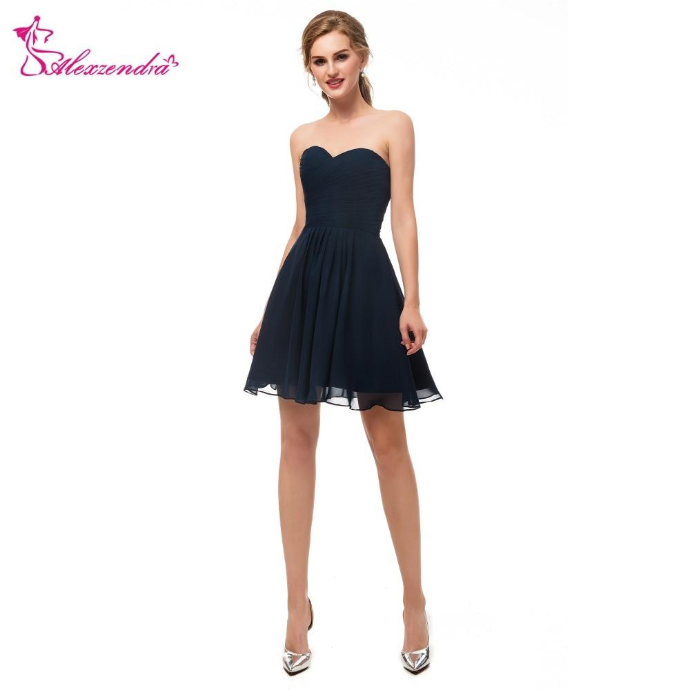 [해외]Alexzendra Sweetheart 네이비 블루 시폰을 보낼 준비가 됨 Simple Mini Prom Dresses 홈 커밍 드레스 for 소녀/Alexzendra Ready to Send Sweetheart Navy Blue Chiffon Simple Mi