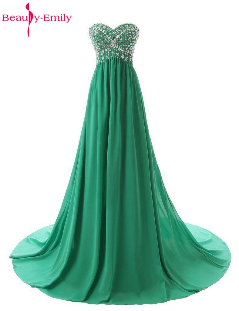 [해외]아름다움 - 에밀리 싸구려 섹시한 간단한 다채로운 녹색 쉬폰 비즈 들러리 드레스 2017 - 라인 스위트 하트 파티 댄스 파티 드레스/Beauty-Emily Cheap Sexy Simple Colorful Green Chiffon Beads Bridesmaid