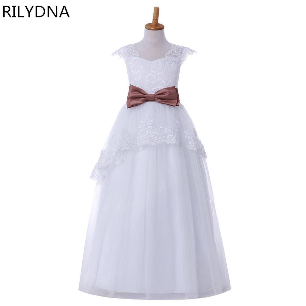 [해외]?결혼식을꽃의 소녀 드레스 볼의 가운 V - 목 얇은 명주 그물 아가씨 레이스 보 여자를첫 번째 친교 드레스/ Flower Girl Dresses For Weddings Ball Gown V-neck Tulle Appliques Lace Bow First Com