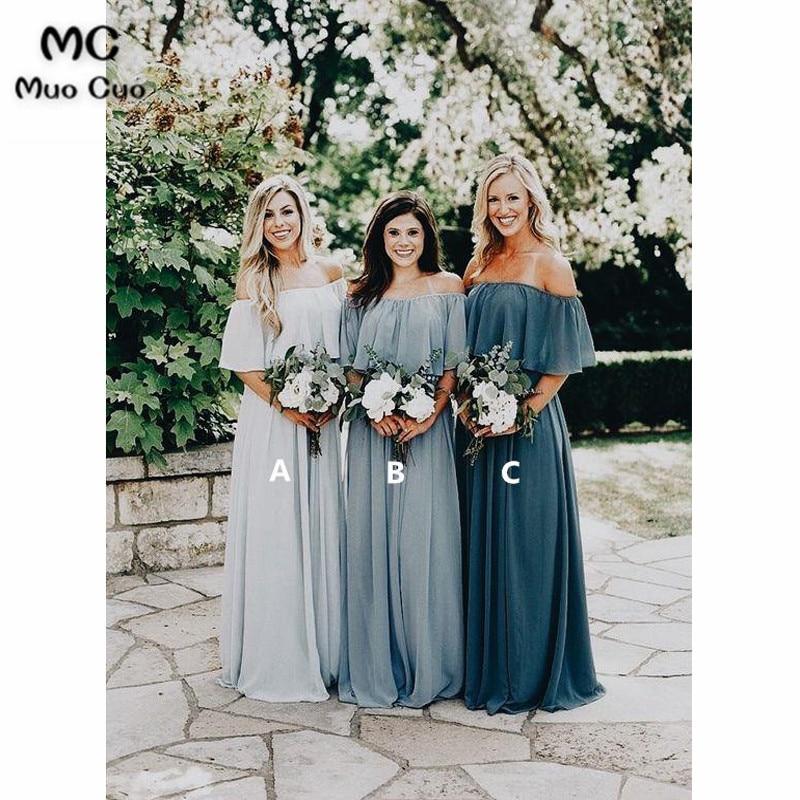 [해외]2018 오프 숄더 들러리 드레스 LongABC 쉬폰 반 슬리브 웨딩 파티 드레스 사용자 정의 만든 여자 들러리 드레스/2018 Off Shoulder Bridesmaid Dress LongABC Chiffon Half Sleeve Wedding Party Dr