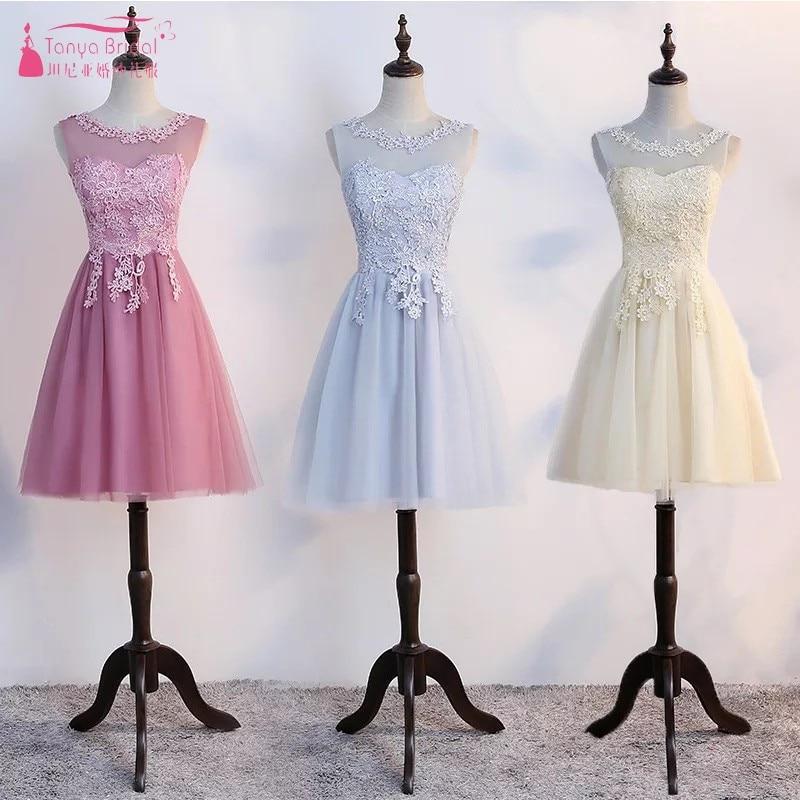 [해외]짧은 길이 무릎 길이의 레이스 얇은 명주 웨딩 드레스 2018 3 색 가운 드레싱 싸구려 재고 있음 실제 사진 DQG 316/Short Knee Length Lace Tulle Bridesmaid Dresses 2018 3 Colors robe de mariee