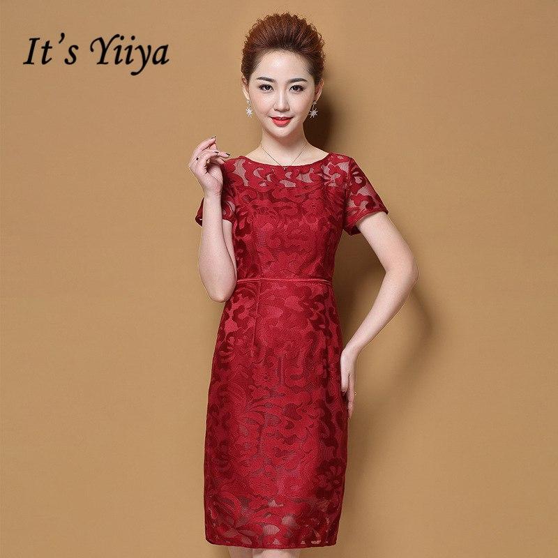 [해외]그것은 Yiiya 어머니 신부 드레스 플러스 크기 오 - 넥 짧은 Retail 레이스 중공 패션 디자이너 우아한 어머니 드레스 M047/It`s Yiiya Mother of the Bride Dresses Plus Size O-Neck Short Sleeve L