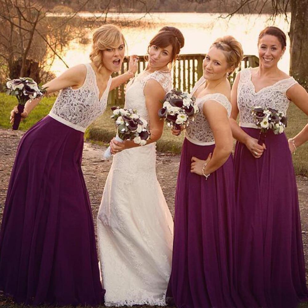 [해외]신부 들러리 2018에 대 한 자주색 얇은 명주 그물 드레스 우아한 화이트 레이스 V 넥 라인 바닥 길이 저렴한 웨딩 파티 가운 플러스 크기/Purple Tulle Long Dresses For Bridesmaid 2018 Elegant White Lace V
