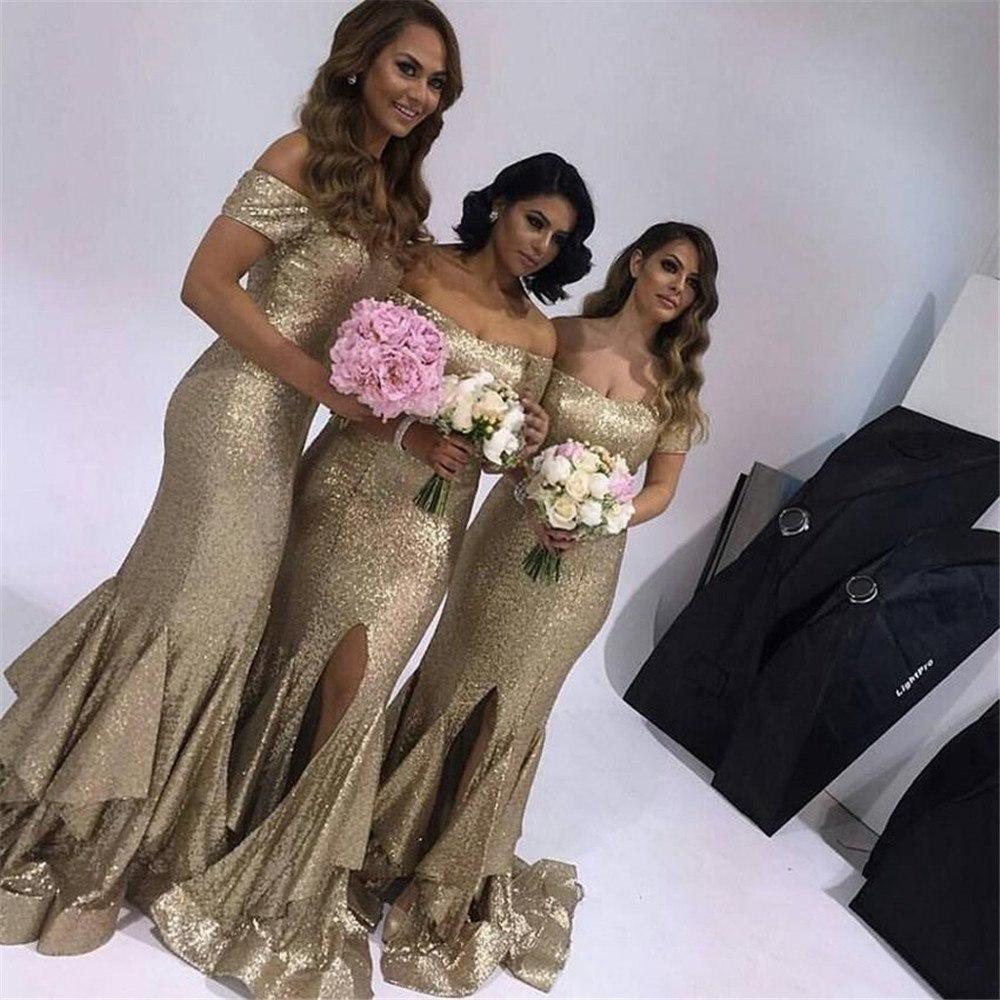 [해외]스파클 스팽츠 머천다이징 웨딩 게스트 드레스 보트 넥 오프 어깨 위로 프론트 스플릿 긴 우아한 신부 들러리 드레스 2018 싸구려/Sparkly Sequins Mermaid Wedding Guest Dress Boat Neck Off The Shoulder Fr