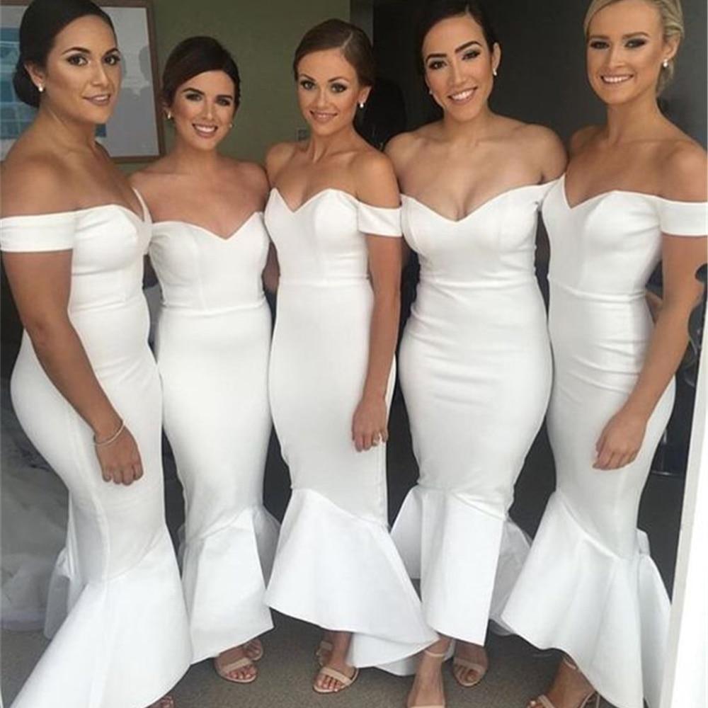 [해외]?화이트 새틴 인 어 공주 웨딩 파티 드레스 2018 숄더 긴 신부 들러리 드레스에서 매력적인 보트 목/ White Satin Mermaid Wedding Party Dresses 2018 Charming Boat Neck Off The Shoulder Long