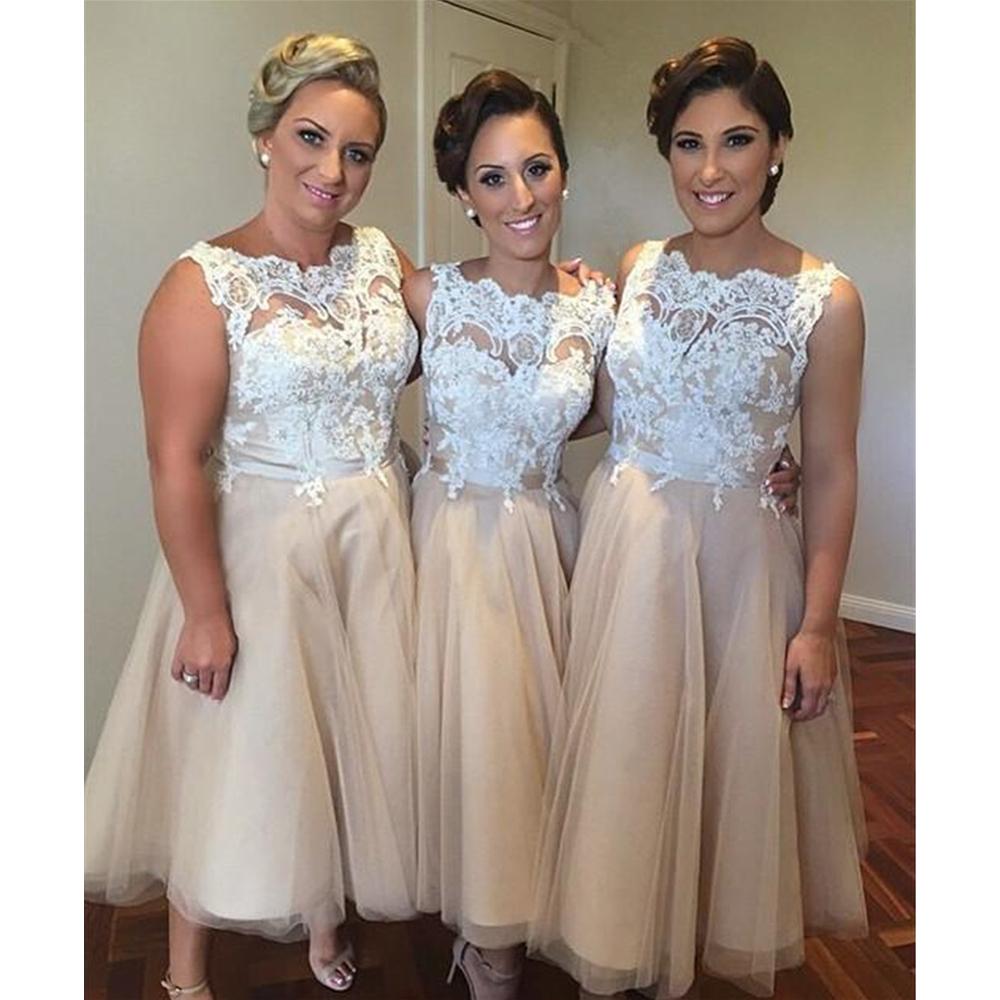 [해외]짧은 들러리 드레스 2018 샴페인 Tulle 라인 화이트 레이스 차 길이 웨딩 파티 드레스 싸구려 여성 댄스 파티 드레스/Short Bridesmaid Dresses 2018 Champagne Tulle A Line White Lace Tea Length We