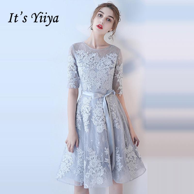 [해외]그것은 YiiYa 신부 들러리 드레스 O- 넥 반 슬리브 정장 정식 드레스 아름다운 레이스 환상 레이디 패션 디자이너 LX1078/It`s YiiYa Bridesmaids Dresses O-Neck Half Sleeve Sashes Formal Dress Bea