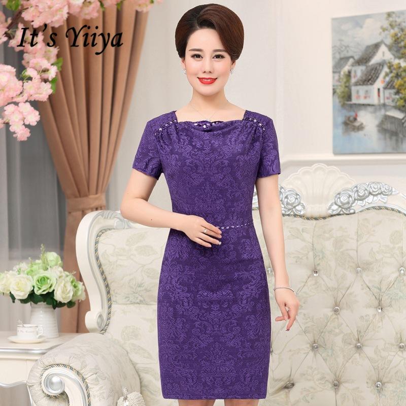[해외]그것은 Yiiya 신부 드레스 플러스 크기의 어머니 보라색 짧은 Retail 진주 패션 디자이너 우아한 어머니 드레스 M056/It`s Yiiya Mother of the Bride Dresses Plus Size Purple Short Sleeve Pearls
