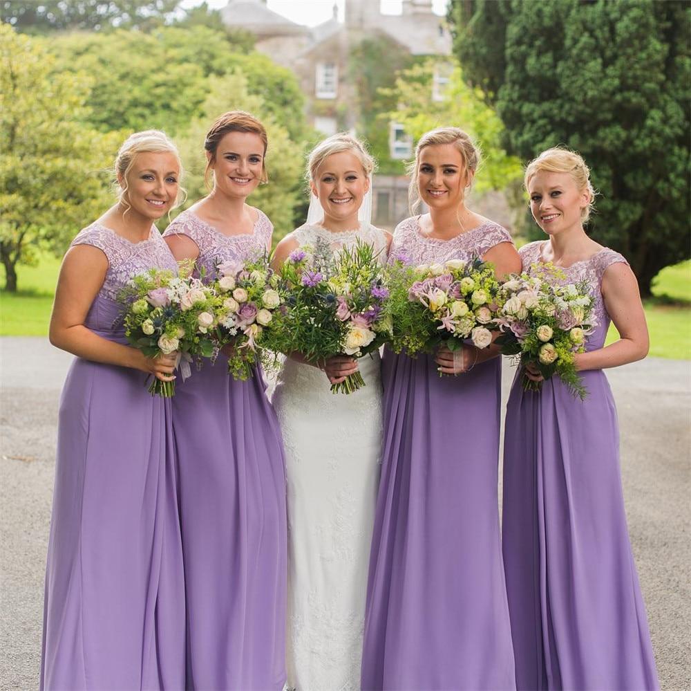 [해외]라벤더 쉬폰 신부 들러리 드레스 2018 Scalloped 라인 층 길이 레이스 웨딩 파티 드레스 여성 가운 싸구려/Lavender Chiffon Bridesmaid Dresses 2018 Scalloped A Line Floor Length Lace Weddi