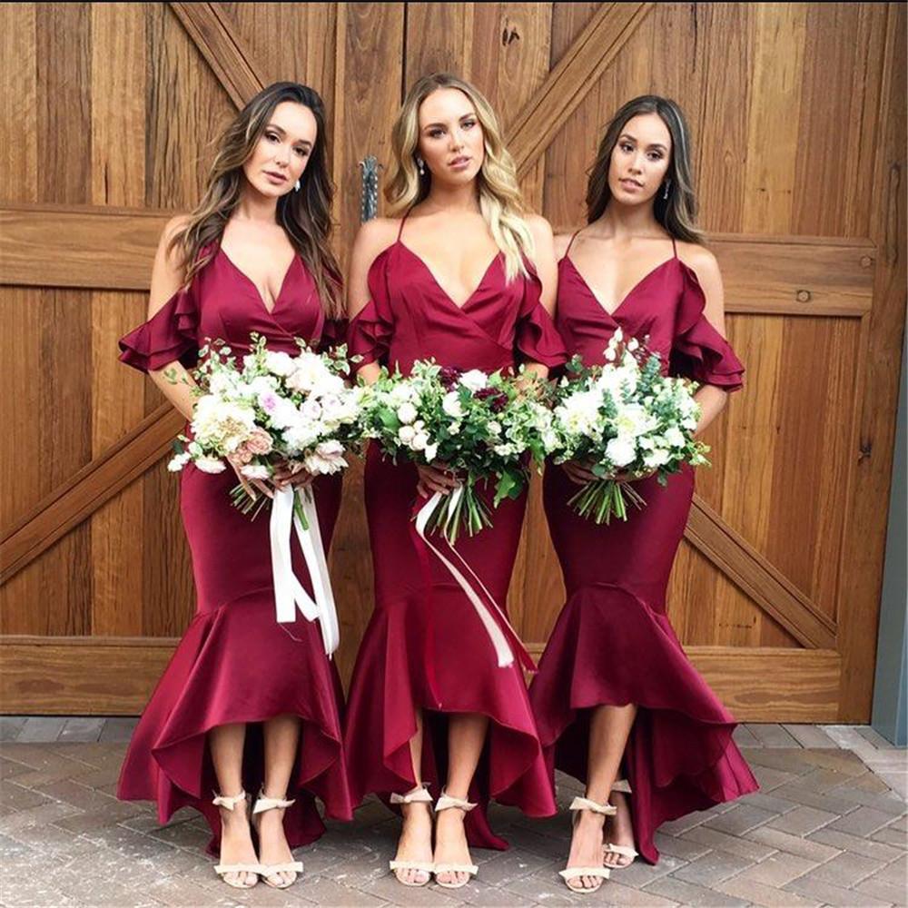 [해외]새로운 2018 인어 부르고뉴 긴 들러리 들러리 드레스 들것없는 새틴 웨딩 파티 가운 싸구려 여성 댄스 파티 드레스/New 2018 Mermaid Burgundy Long Bridesmaid Dresses Halter Backless  Satin Wedding