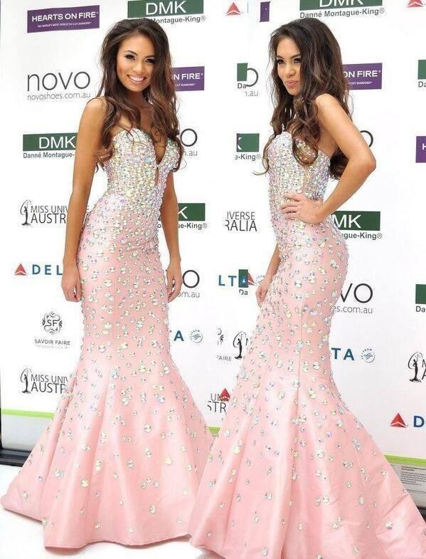[해외]Charming mermaid pink celebrity dresses 2019 sweetheart shoulder satin beading 새 도착 스파클리 드레스 vestidos de novi/Charming mermaid pink cele