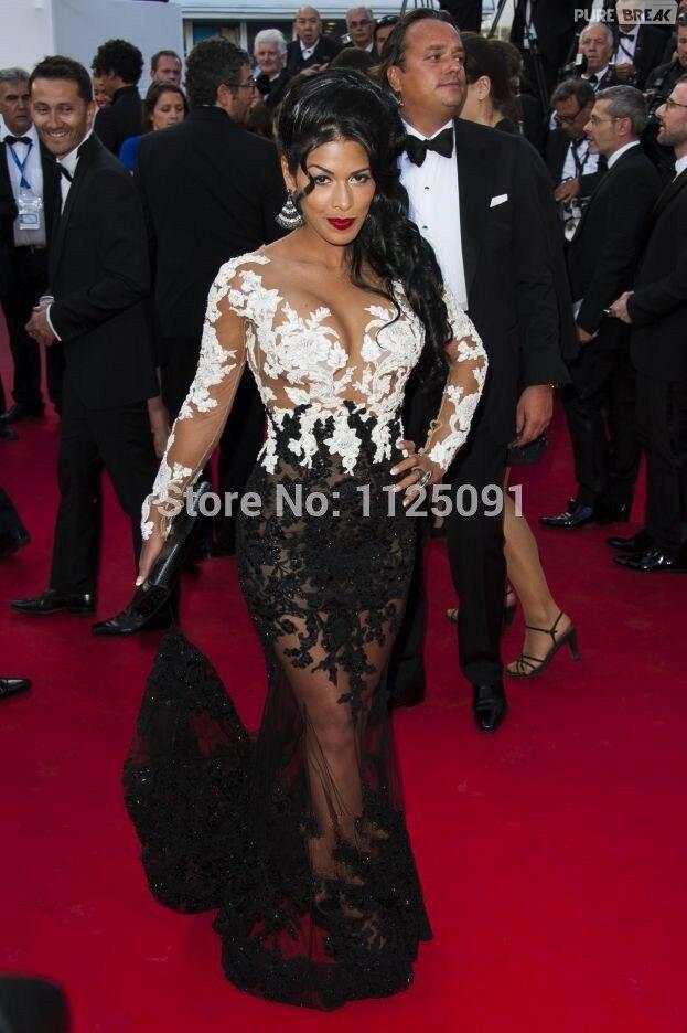 [해외]Real Photos Sexy See Through Long Sleeves Lady Formal Dress White And Black Mermaid Gown Beads Elegant Celebrity Dresses/Real Photos Sex