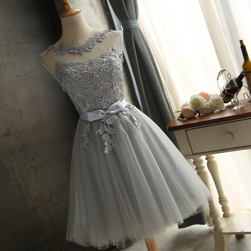 [해외]Popodion Graduation Dress Gray Lace Short Graduate Dress Graduated special occasion dresses vestido de formatura N1009 /Popodion Graduation Dress