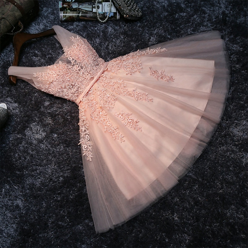 [해외]Pink Short Homecoming Dresses for Junior Girls Lace Beading V Neck Tulle Teens Graduation Cocktail Party Gown/Pink Short Homecoming Dres