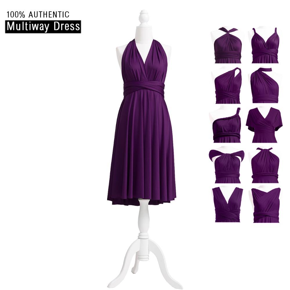 [해외]짙은 자주색 들러리 드레스 짧은 인피니티 드레스 멀티 웨이 드레스 컨버터블 랩 드레스 HHTER V 넥 스타일/Dark Purple Bridesmaid Dress Short Infinity Dress Multi Way Dress Convertible Wrap D