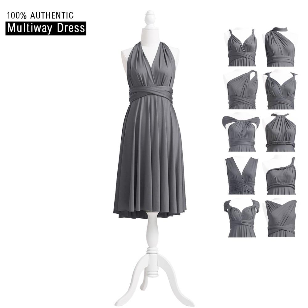 [해외]진회색 회색 신부 들러리 복장 짧은 무한 복장 MultiWay 복장 어두운 회색 Convertible Wrap DressHallter Style/Charcoal Grey Bridesmaid Dress Short Infinity Dress MultiWay Dres