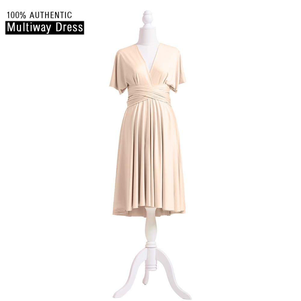 [해외]Champagne Bridesmaid Dress 짧은 인피니티 드레스 베이지 MultiWay 무릎 길이 드레스 컨버터블 랩 DressSleeves 스타일/Champagne Bridesmaid Dress Short Infinity Dress Beige MultiW