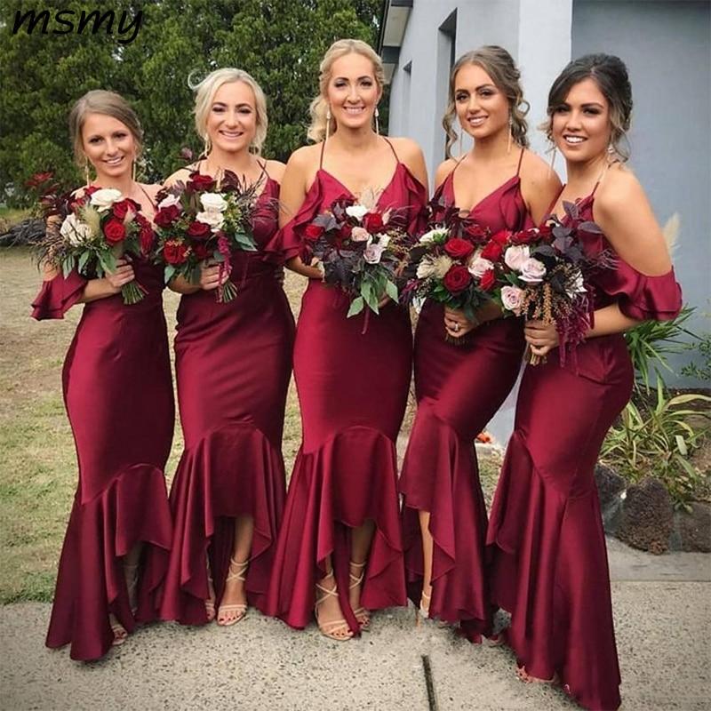[해외]섹시한 홀터넥 와인 레드 긴 새 신부 들러리 드레스 v-목 인어 하녀 신부 들러리 dresse 맞춤 제작/섹시한 홀터넥 와인 레드 긴 새 신부 들러리 드레스 v-목 인어 하녀 신부 들러리 dresse 맞춤 제작