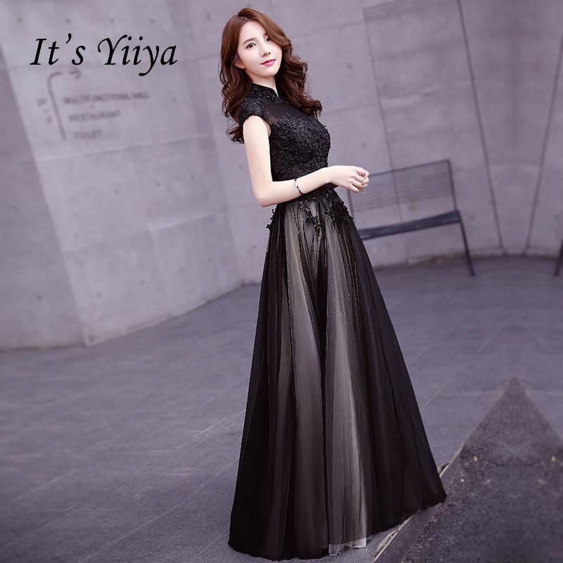 [해외]그것은 YiiYa 블랙 높은 칼라 꽃 환상 꽃 인쇄 우아한 지퍼 파티 정장 드레스 층 길이 이브닝 드레스 LX079/It`s YiiYa Black High Collar Flower Illusion Floral Print Elegant Zipper Party Fo