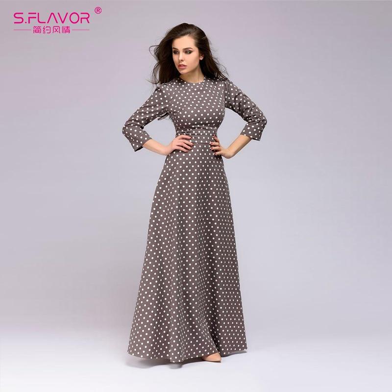 [해외]/S.FLAVOR Retro wave point long dress Women vintage style O-neck three quarter sleeve Elegant vestidos Spring Summer casual dress
