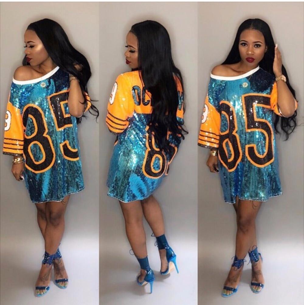 [해외]Women Performance Costumes Cheerleaders Loose Oversized Causal 85 Letter Shift Sequin T Shirt Mini Dress Hip-Hop Long Tee/Women Performance Costum