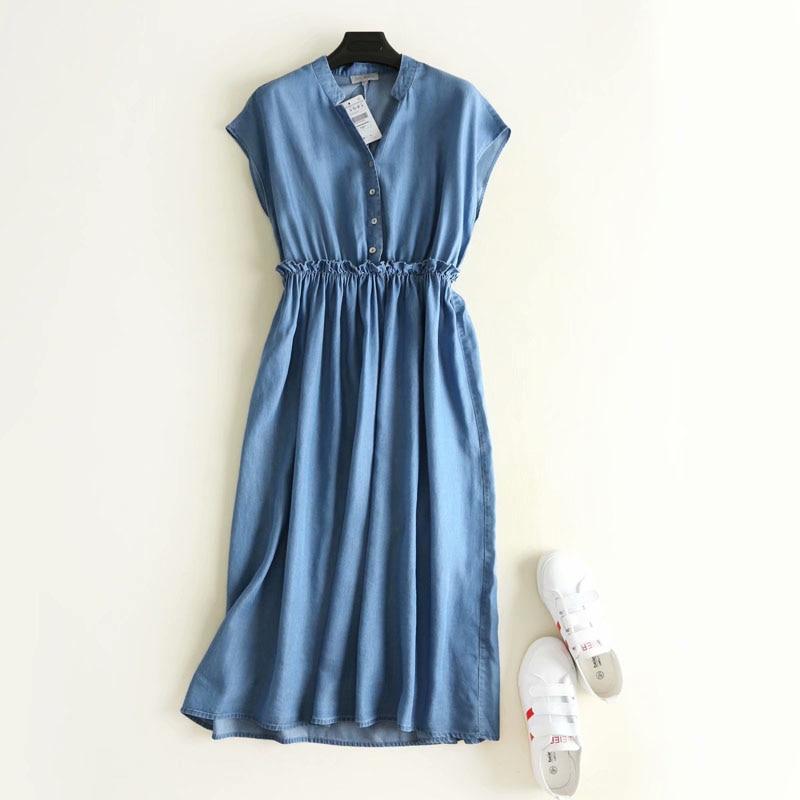 [해외]New fashion women high waist pleated sleeveless tencel jeans dress ladies casual soft denim dresses vestidos/New fashion women high waist pleated