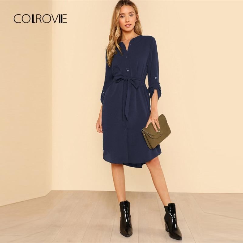 [해외]COLROVIE Navy Solid Workwear Roll Tab Sleeve Belted Shirt Dress Women 2018 Autumn Shift Button Office Lady Basic Dresses/COLROVIE Navy Solid Workw