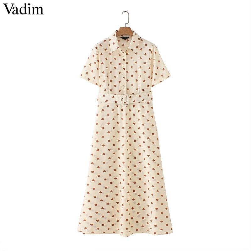 [해외]Vadim women dots print maxi dress sashes turn down collar female casual short sleeve dresses Ankle length dresses vestidos QB298/Vadim women dots