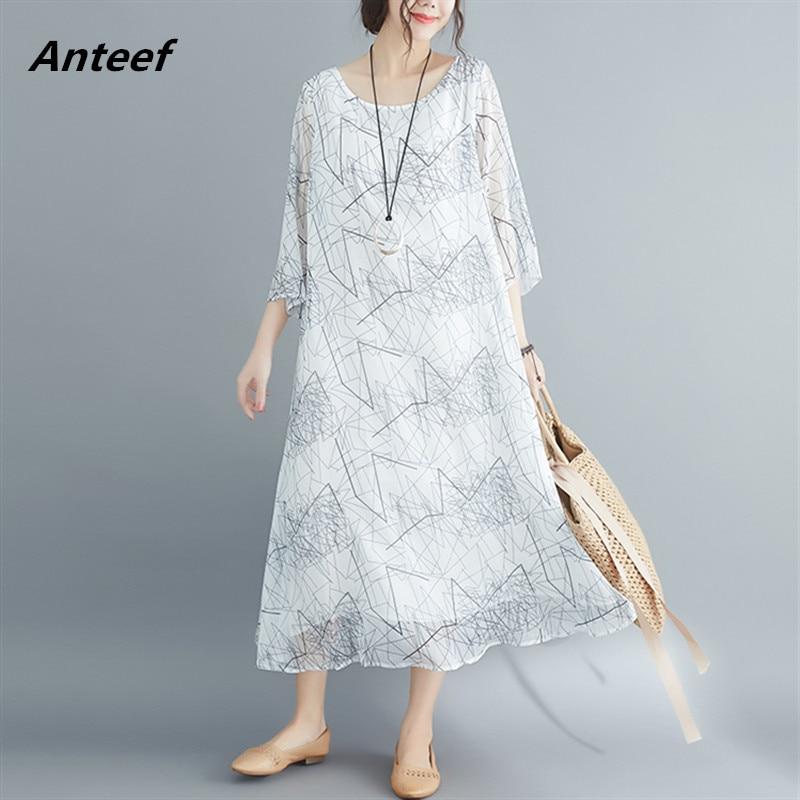 [해외]silk chiffon plus size vintage women casual loose long summer dress elegant clothes 2019 ladies dresses sundress streetwear/silk chiffon plus size
