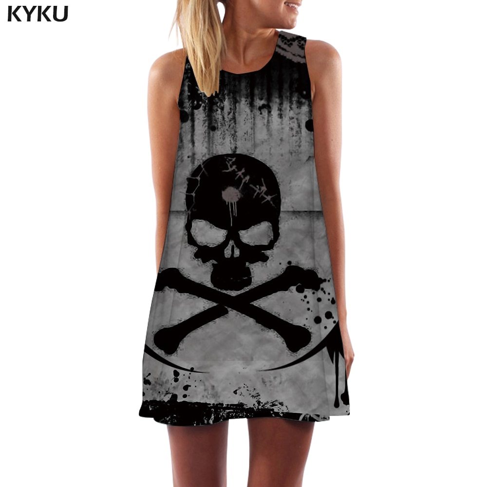 Kyku 해골 드레스 여성 해골 boho 그레이 3d 인쇄 잉크 사무실 고딕 비치 여성 의류 빈티지 숙녀