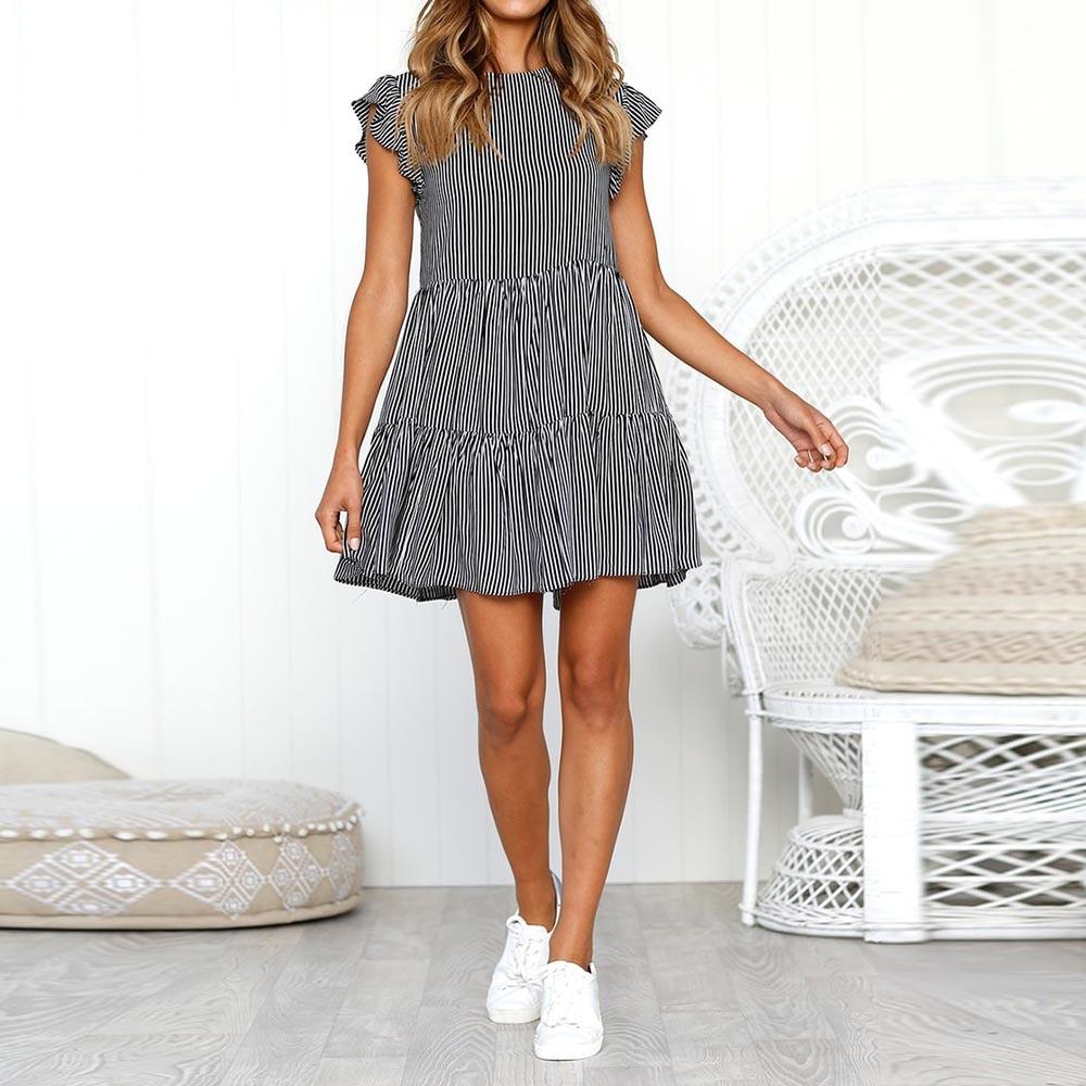 SAGACE 드레스 2019 패션 비치 캐주얼 여성 여름 드레스 biack 스트 라이프 민소매 캐주얼 루즈 섹시한 가운 미니 vestido 403