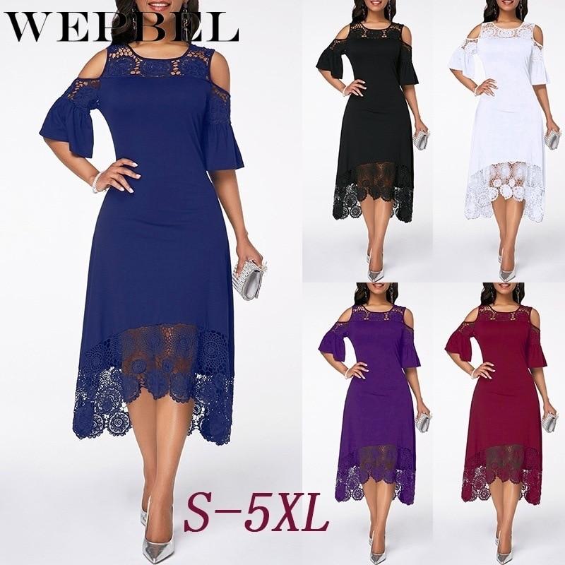 WEPBEL 여성 드레스 여름 플러스 사이즈 레이스 꽃 꽃 드레스 콜드 숄더 불규칙한 파티 숙녀 긴 맥시 드레스