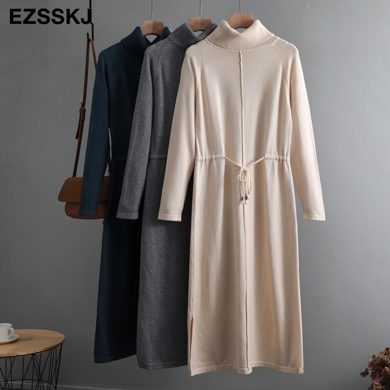 가을 겨울 여성 터틀넥 느슨한 긴 스웨터 드레스 로브 니트 스웨터 Drawstring 드레스 여성 특대 맥시 드레스