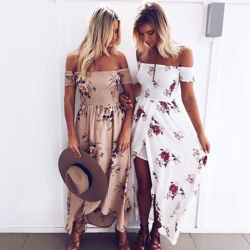 [해외]Women Off Shoulder Floral Print Boho Dress Women Beach Summer Dresses Ladies Strapless Long Maxi Dress Vestidos Female XS-5XL/Women Off