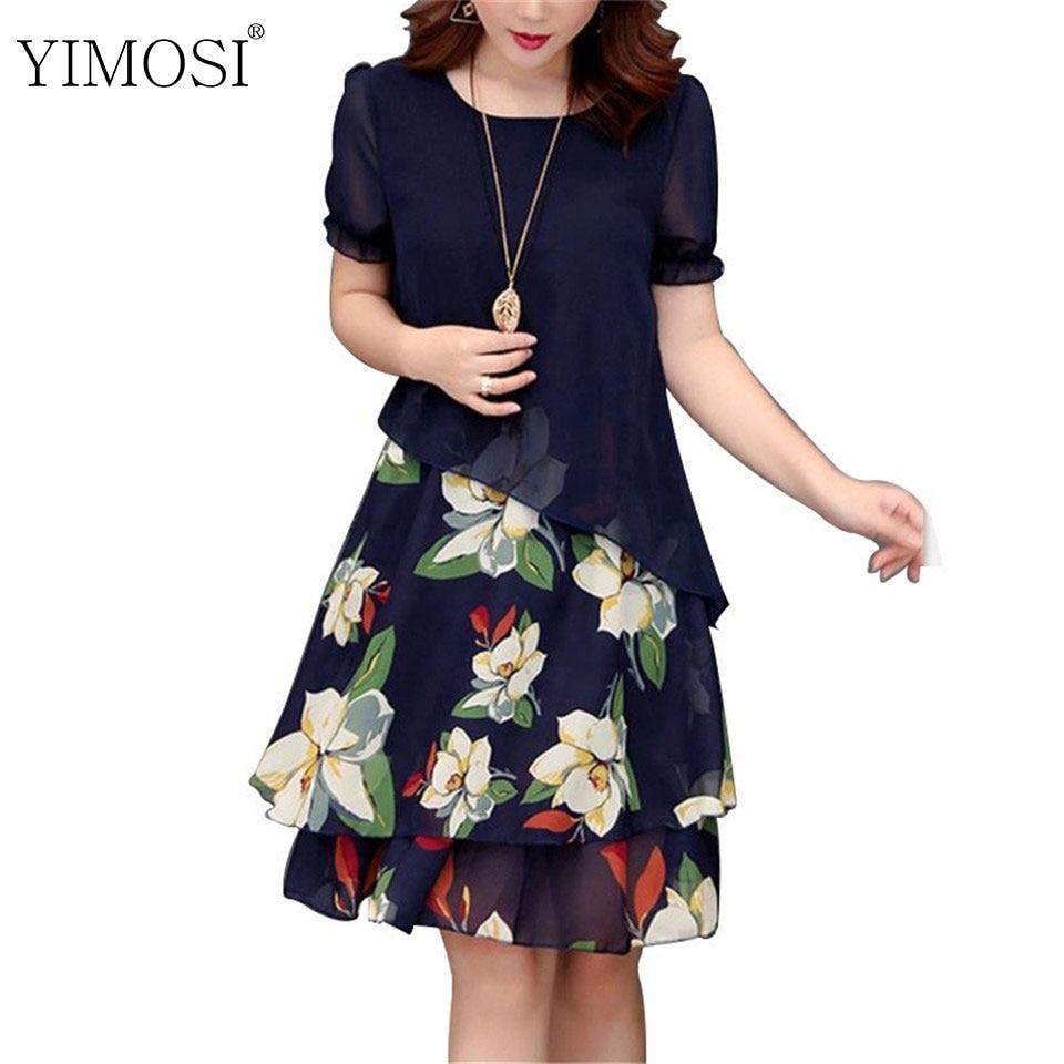 [해외]Summer Chiffon Dress 2019 Casual Short Sleeve O-Neck Floral Print Dresses Elegant Party Dress Plus Size Dress 5XL Women Clothing/Summer