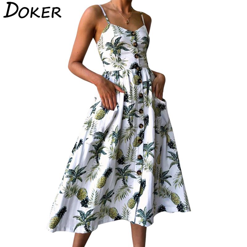 [해외]Summer Women Dress Bohemian Sundress Vintage Print V-neck Tunic Beach Dress 2018 Ladies Sexy Stripe Eveing Party Dress Vestidos/Summer W