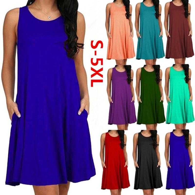 [해외]Women Casual Summer Dress Plus Size O-neck Tank Top Loose Clothing Side Pocket Fashion Sexy Ladies Solid Sleeveless Dresses 5XL/Women Ca
