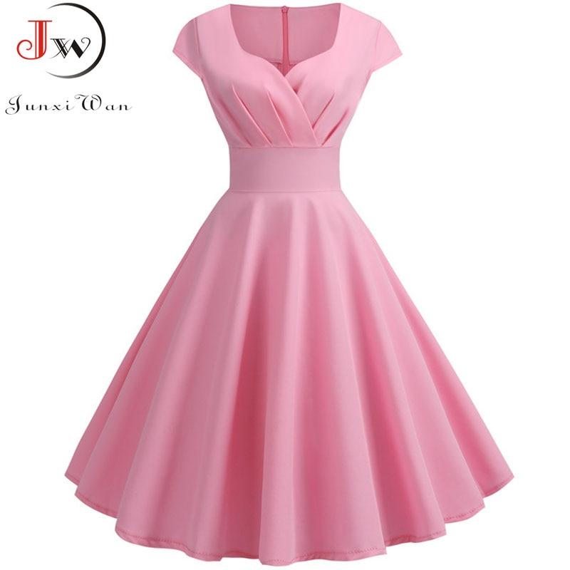 [해외]Pink Summer Dress Women 2019 V Neck Big Swing Vintage Dress Robe Femme Elegant Retro pin up Party Office Midi Dresses Plus Size/Pink Sum