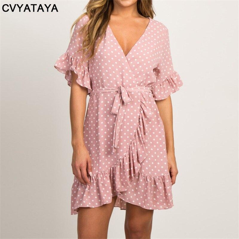 [해외]Summer Chiffon Dress 2019 Boho Style Beach Dress Fashion Short Sleeve V-neck Polka Dot A-line Party Dresses Sundress Vestidos/Summer Chi