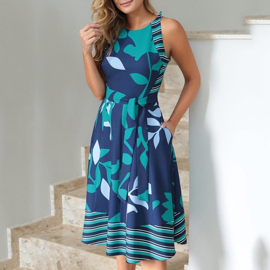 드레스 여성 여름 2019 플러스 사이즈 O 넥 민소매 Boho 프린트 새시 라인 드레스 캐쥬얼 숙녀 비치 Sundress Robe Vestidos