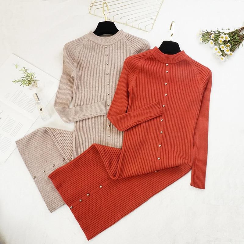 [해외]GIGOGOU Chic Beading Women Sweater Dress Autumn Winter New Long Sleeve Bodycon Knee Length Dresses Ladies  Knitted Sweater Dress/GIGOGOU