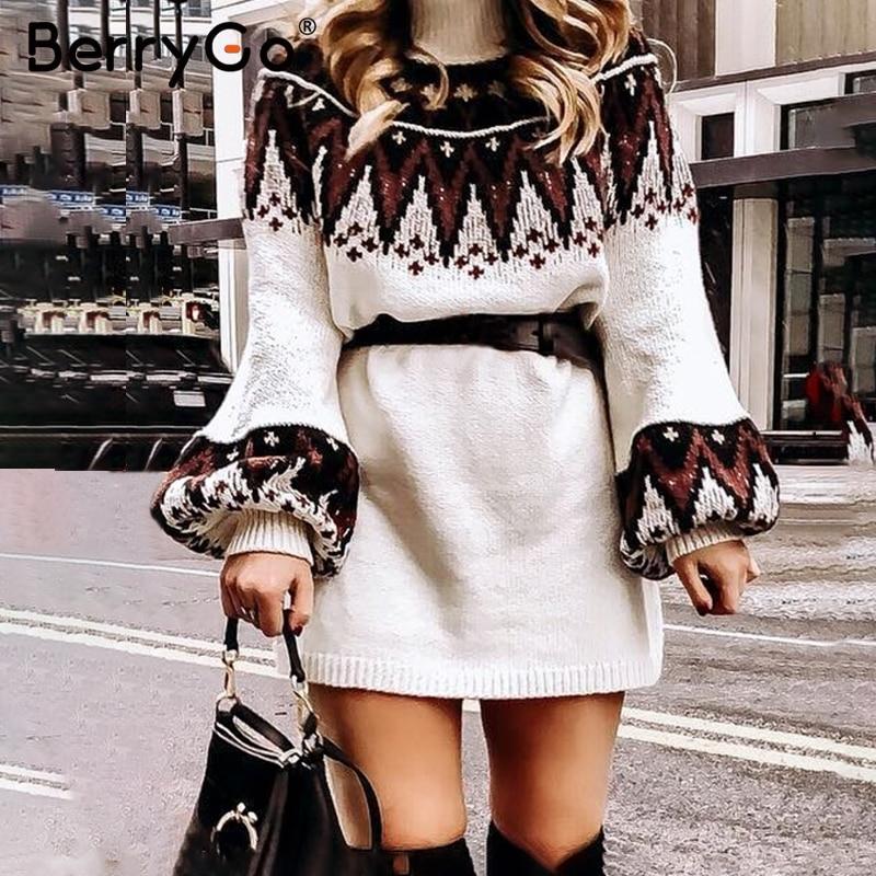 [해외]BerryGo Geometric print knitted female dress Casual women turtle neck pullover sweater dress Autumn winter retro white vestidos/BerryGo