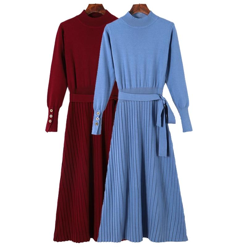 [해외]GIGOGOU Turtleneck Long Women Dress 2019 Autumn Winter Warm Dress With Sashes A Line Knitted Pullover Sweater Dresses Pull Femme/GIGOGOU